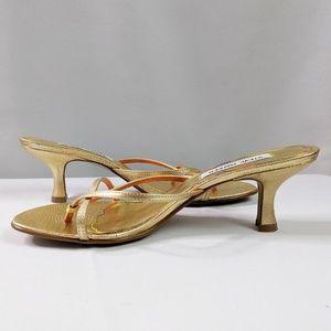 Steve Madden Gold Strappy Sandals Kitten Heel Sz 8